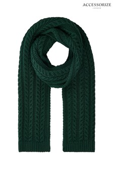 Accessorize Green Cable Knit Scarf