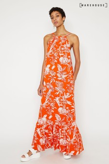 Warehouse Orange Jungle Print Halter Maxi Dress