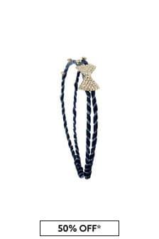 Girls Navy Diamanté Headband