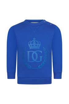 Dolce & Gabbana Kids Baby Boys Blue Cotton Sweater