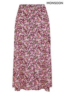 Monsoon Pink Ditsy Print Midi Skirt