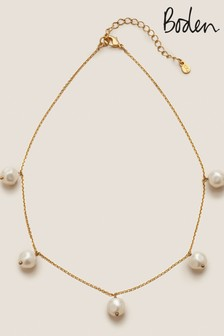 Boden Gold Tone Glass Pearl Necklace