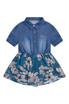 Baby Girls Blue & Silver Roses Dress