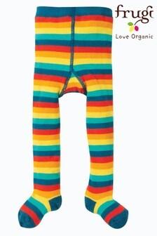 Frugi Red Organic Rainbow Stripe Tights
