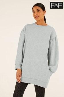 F&F Grey Balloon Sleeve Sweat Dress