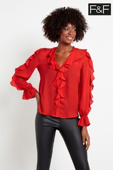 F&F Red Ruffle Long Sleeve Top