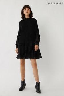 Черное плиссированное платье мини Warehouse