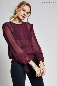 Harpenne Burgundy Lace Trim Top