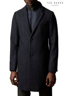 Ted Baker Blue Saffend Semi Plain Wool Blend Overcoat