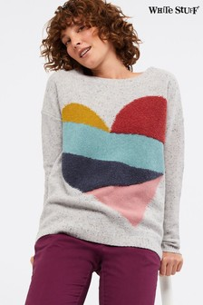 White Stuff Grey Patchwork Heart Jumper