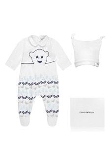 Boys White Cotton Babygrow Two Pack