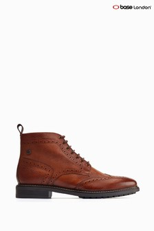 Base London® Tan Berkley Grain Brogue Ankle Boots