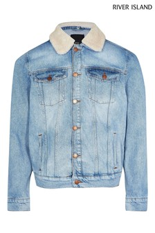 River Island Light Blue Classic Wash Borg Jacket