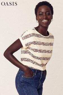 Oasis Natural Animal Stripe T-Shirt