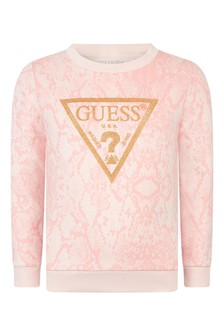 Girls Pink Python Print Cotton Sweater