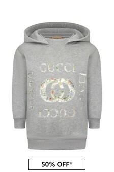 GUCCI Kids Girls Grey Cotton Hoody