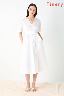 Finery London White Sabine Poplin Wrap Dress