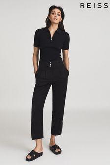 Reiss Black Blair Zip Detail Tapered Fit Trousers