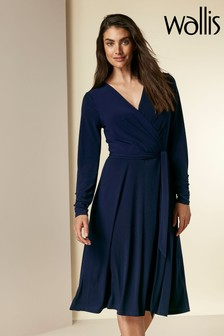 Wallis Ink Wrap Fit And Flare Dress
