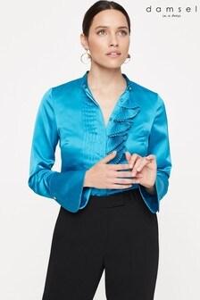 Damsel In A Dress Blue Kizzie Ruffle Blouse
