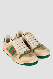 Kids Beige and Green Leather Screener Trainers