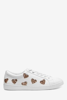 Heart Detail Lace-Up Trainers