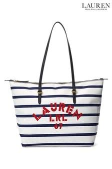 Lauren Ralph Lauren Navy Keaton Nylon Stripe Tote Bag
