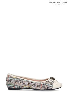 Kurt Geiger Ladies Esme Cream Leather Ballerinas