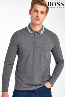 BOSS Plissé Long Sleeve Polo