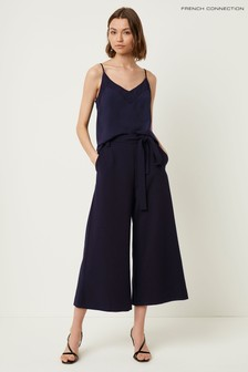 French Connection Black Whisper Belted Culottes