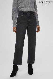 Selected Femme Washed Grey Tapered Jeans