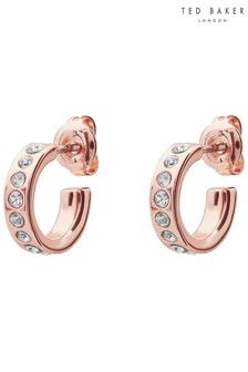 Ted Baker Rose Gold Tone Seeni Mini Hoop Huggie Earrings