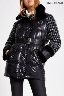 River Island Black Bouclé Nylon Hybrid Belted Jacket