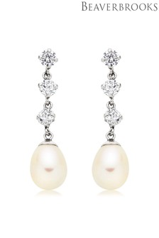 Beaverbrooks 9ct White Gold Freshwater Pearl Cubic Zirconia Earrings