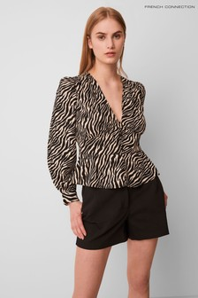 French Connection Black/Cream Ft Geriel Zebra Fitted Waist Top