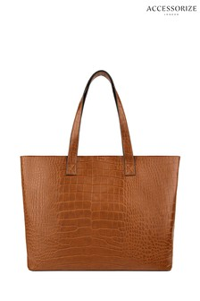 Accessorize Tan Croc Effect Tote