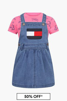 Tommy Hilfiger Baby  Blue Cotton T-Shirt And Dress Set