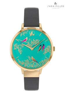 Sara Miller Green Exotic Bird Print Strap Watch