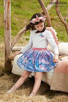 Monsoon Children Purple Alaina Unicorn 2-In-1 Dress