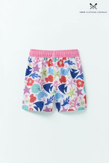 Crew Clothing White Bermuda Print Shorts