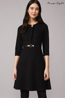 Phase Eight Black Romina Belted Swing Ponte Dress