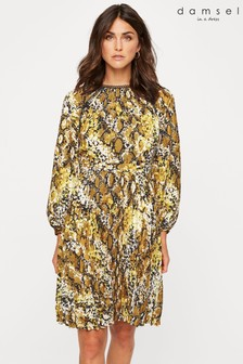 Damsel In A Dress Yellow Naia Snake Print Dress