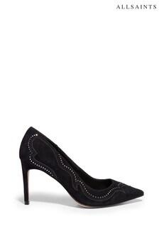 AllSaints Black Zehra Suede Court Shoes