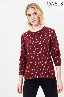 Oasis Red All Over Star Foil Sweater