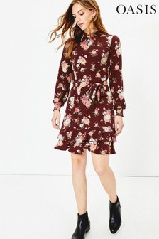 Oasis Red Erin Rose Tiered Dress