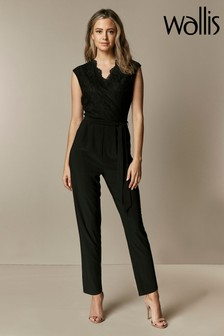Wallis Petite Black Lace V-Neck Jumpsuit