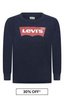 Boys Navy Cotton Long Sleeve T-Shirt