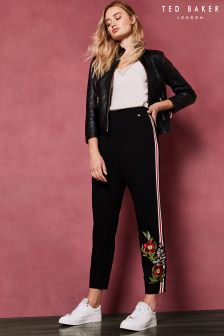 Ted Baker Black Madlyne Floral Embroidered Trousers