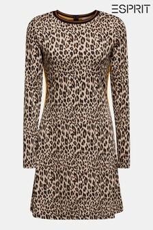 Esprit Black Flared Dress With Animal Print