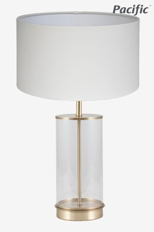 Westwood Clear Glass And Champagne Metal Table Lamp by Pacific Lifestyle